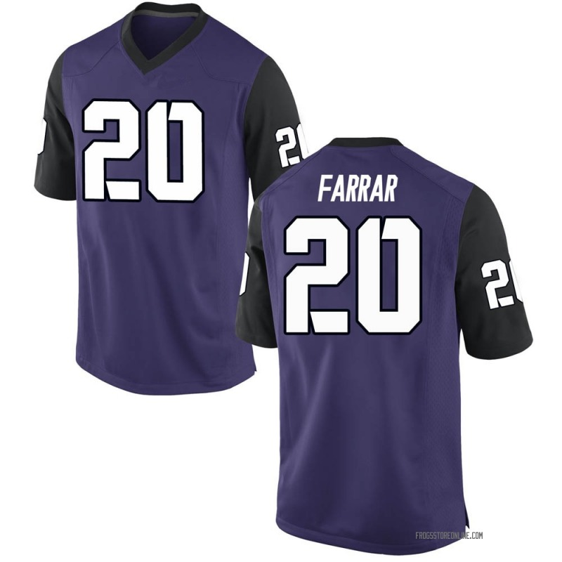 Game Men's Zach Farrar TCU Horned Frogs Purple Football College Jersey