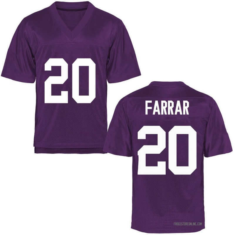 Game Youth Zach Farrar TCU Horned Frogs Purple Football College Jersey